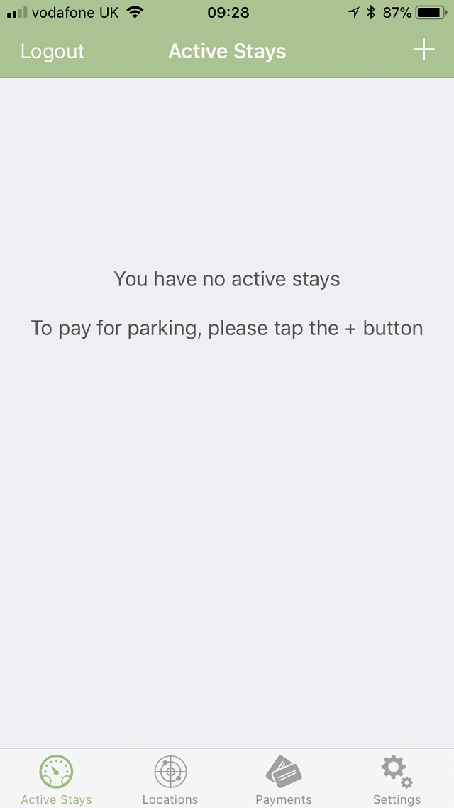 Active Stays screen in iOS