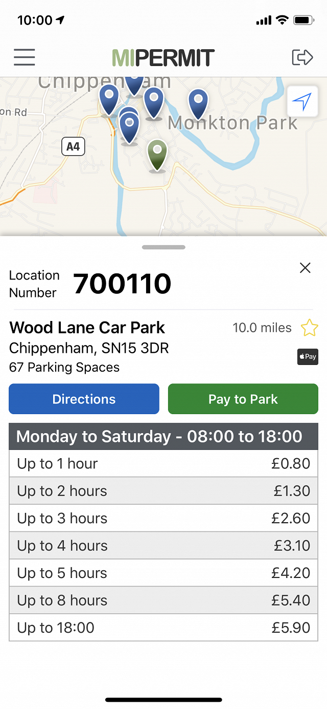 MiPermit Parking Locations on iOS